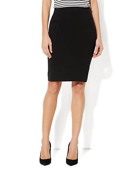 7th Avenue Suiting Collection Seamed Pencil Skirt - Black - Petite