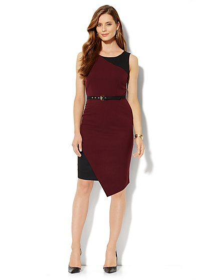 7th Avenue Suiting Collection Sheath Dress - Black Cherry