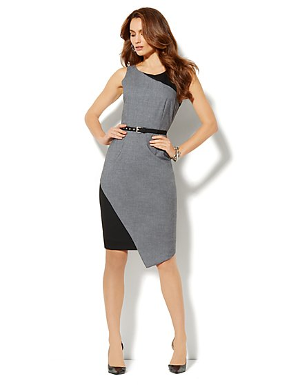 7th Avenue Suiting Collection Sheath Dress - Grey - New York & Company