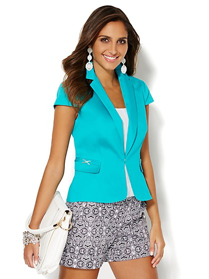 7th Avenue Suiting Collection - Short-Sleeve Cotton Sateen Jacket  - New York & Company