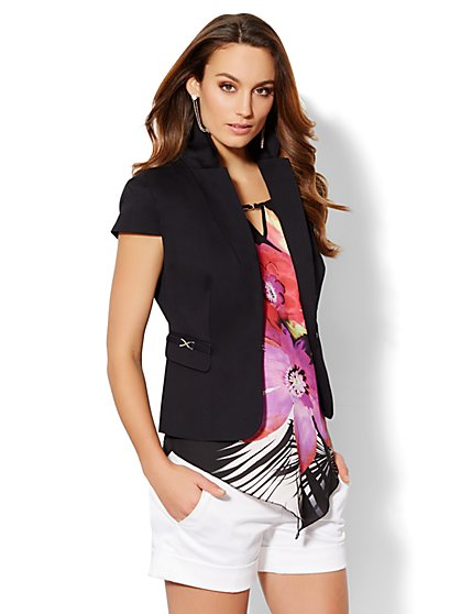 7th Avenue Suiting Collection - Short-Sleeve Jacket - Black  - New York & Company
