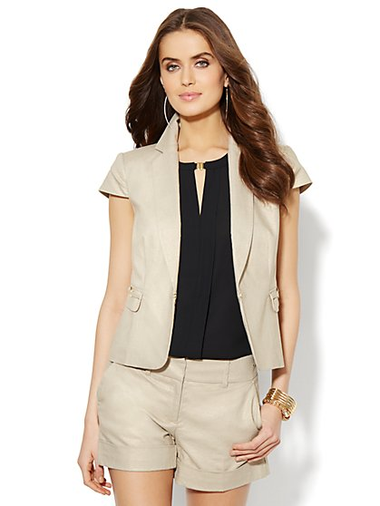 7th Avenue Suiting Collection - Short-Sleeve Jacket - Gold  - New York & Company