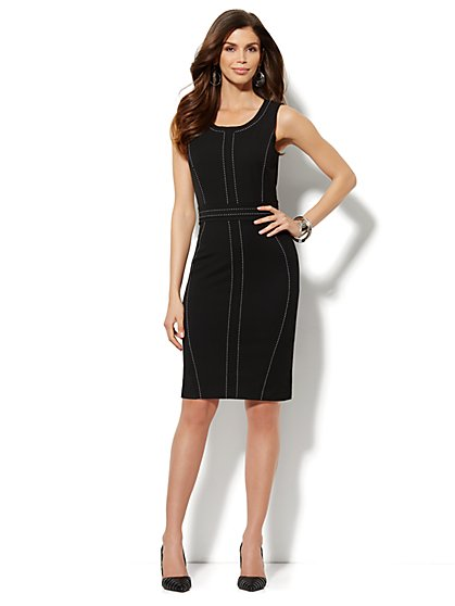 7th Avenue Suiting Collection - Topstitch Sheath Dress - Petite - New York & Company