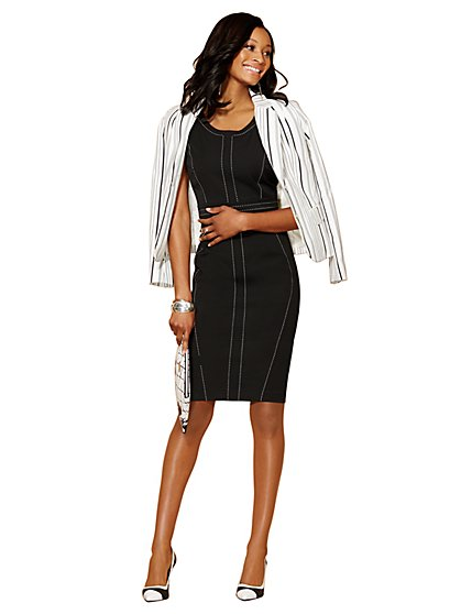 7th Avenue Suiting Collection - Topstitch Sheath Dress  - New York & Company