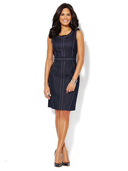 7th Avenue Suiting Collection - Topstitched Denim Sheath Dress - New York & Company