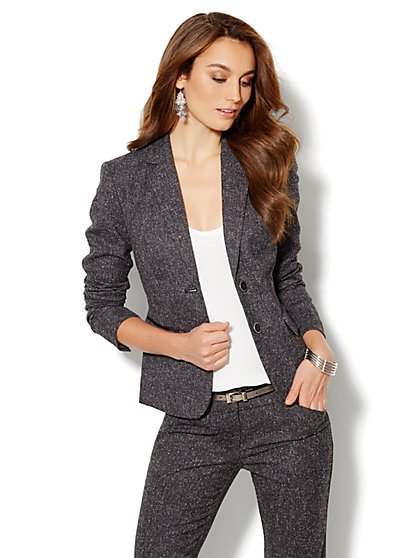 7th Avenue Suiting Collection Tweed Jacket - Black - New York & Company