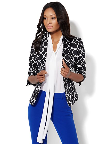 7th Avenue Suiting Collection Two-Button Jacket - Circle Print  - New York & Company