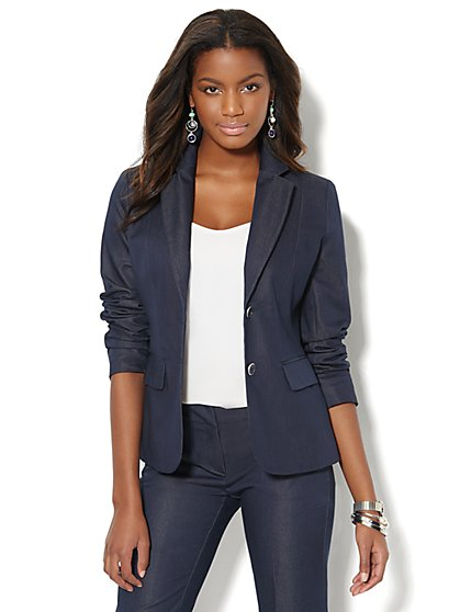 7th Avenue Suiting Collection Two-Button Jacket - Navy  - New York & Company