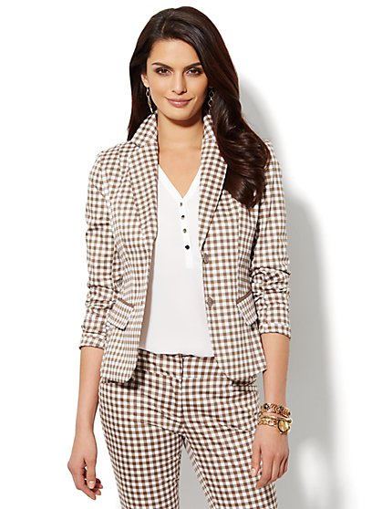 7th Avenue Suiting Two-Button Jacket - Gingham - New York & Company