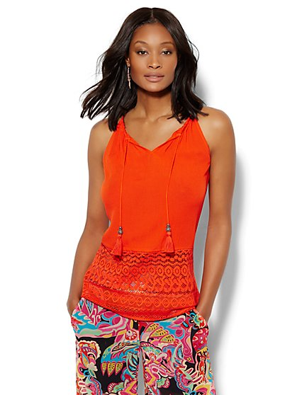 7th Avenue - Tassel Detail Halter Blouse  - New York & Company