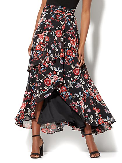 7th Avenue - Tiered Wrap Maxi Skirt - Black Floral Print - New York & Company