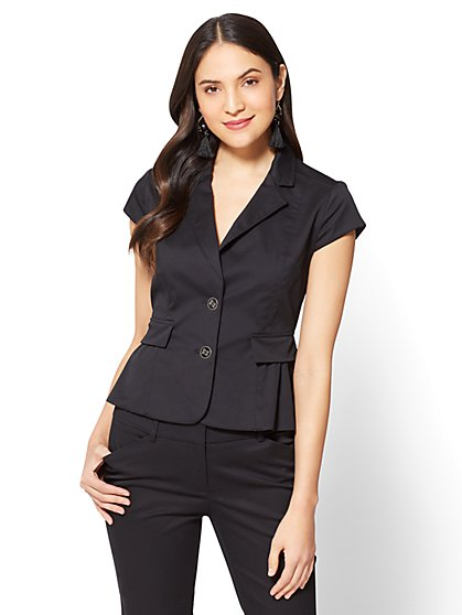7th Avenue - Two-Button Peplum Jacket - Tall - Black - New York & Company