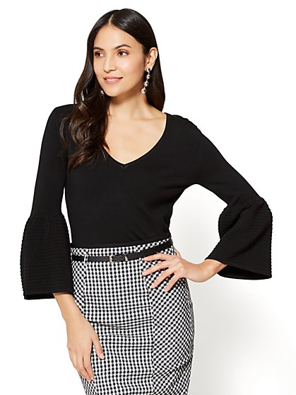 7th Avenue - V-Neck Bell-Sleeve Sweater - New York & Company