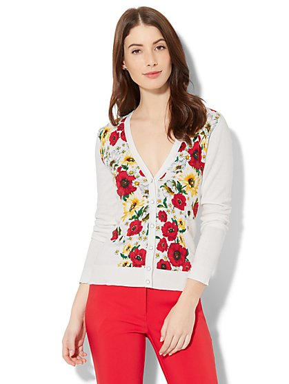 7th Avenue - V-Neck Chelsea Cardigan - Floral - New York & Company