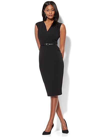 7th Avenue - V-Neck Sheath Dress - Modern - Black - Petite - New York & Company
