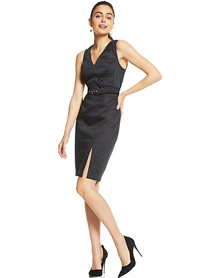 7th Avenue - V-Neck Sheath Dress - Modern - Polka Dot - New York & Company