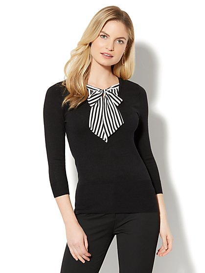 7th Avenue - V-Neck Twofer Sweater - Black - New York & Company