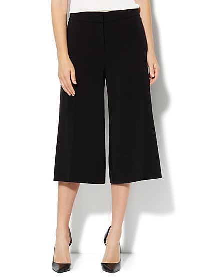 7th Avenue Wide Leg Crop Pant - Black - New York & Company