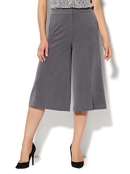 7th Avenue Wide Leg Crop Pant - Ellington Heather Grey - New York & Company
