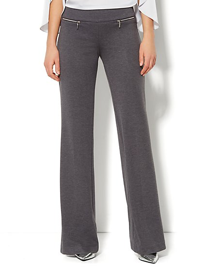 7th Avenue Wide-Leg Pull-On Pant - Zip Detail - Average - New York & Company