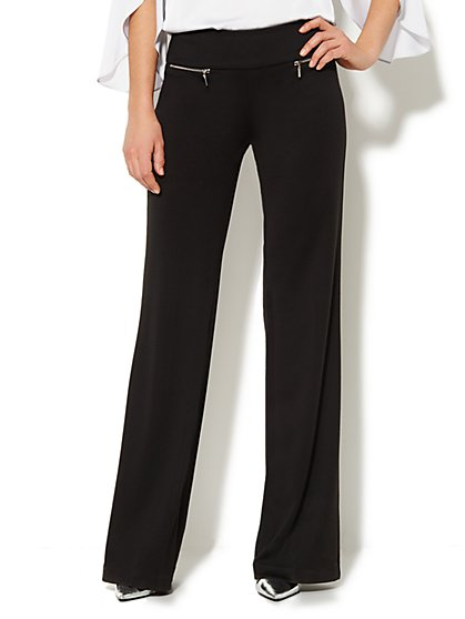 7th Avenue Wide-Leg Pull-On Pant - Zip Detail - Petite - New York & Company