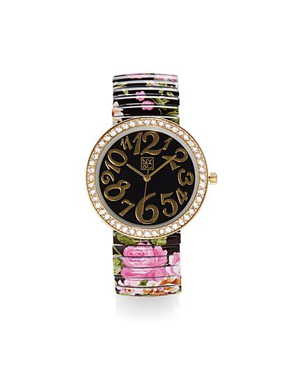 Abstract Dial Floral-Print Watch