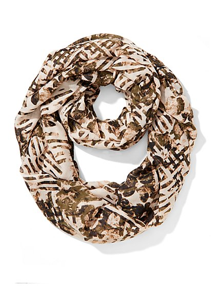Abstract Floral Infinity Scarf  - New York & Company