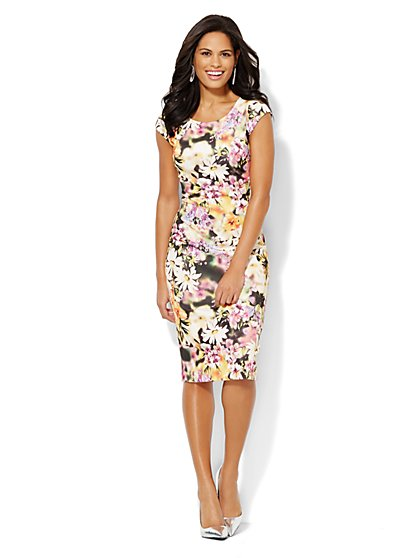 Abstract Floral Scuba Midi Sheath Dress  - New York & Company