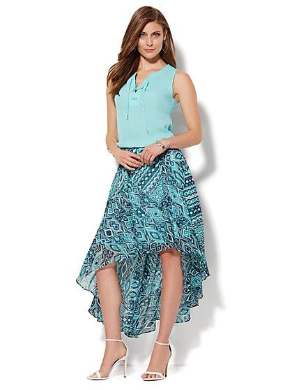 Abstract Ikat Hi-Lo Skirt  - New York & Company