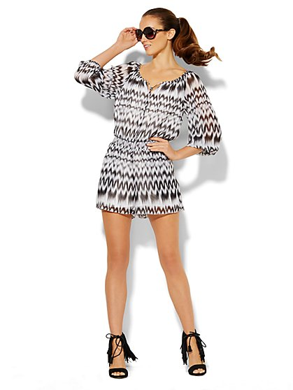 Abstract Ikat-Print Romper  - New York & Company