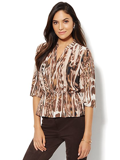 Abstract Leopard Print Peplum Blouse - New York & Company