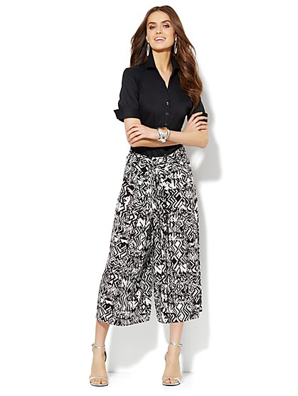 Abstract-Print Culotte - New York & Company