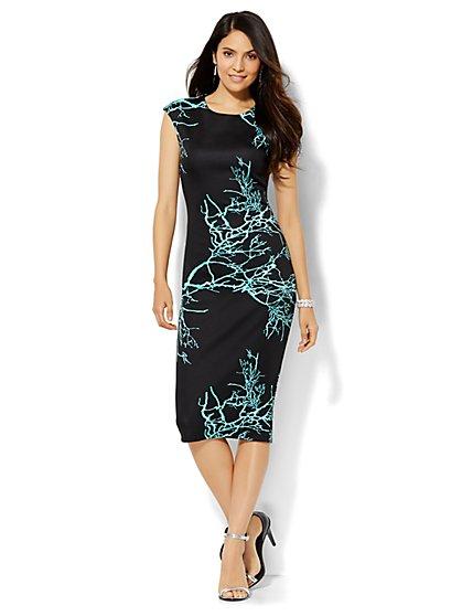 Abstract-Print Scuba Sheath Dress  - New York & Company
