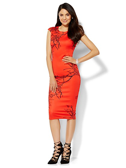 Abstract-Print Scuba Sheath Dress  - New York & Company