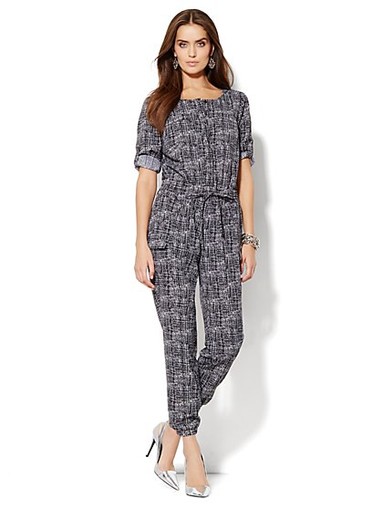 Abstract-Print Soft Cargo Jumpsuit - New York & Company