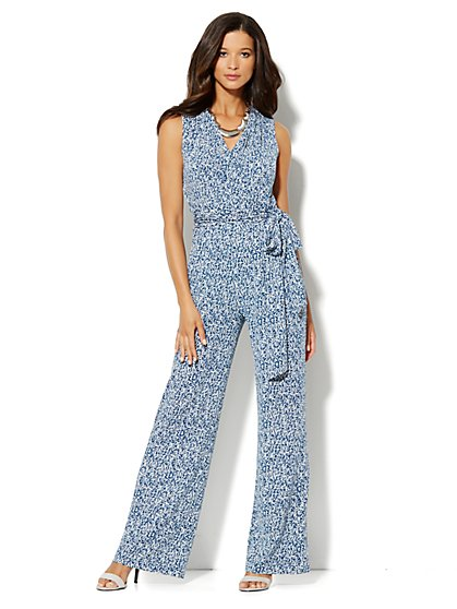 Abstract-Print Wrap Jumpsuit - New York & Company