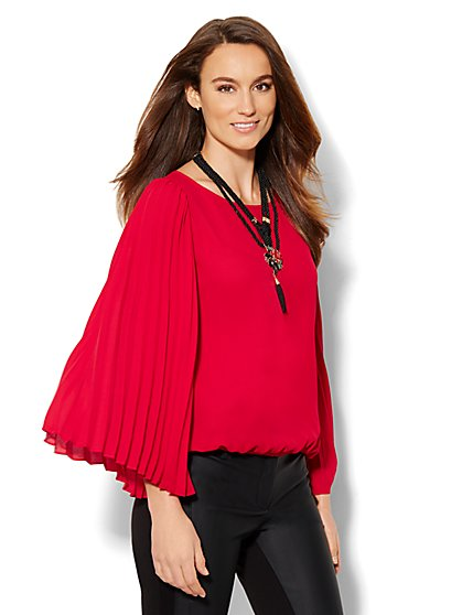 Accordion-Sleeve Blouse  - New York & Company
