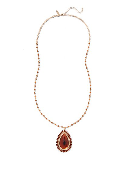 Amber Teadrop Pendant Necklace - New York & Company