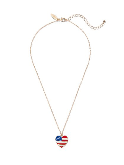 American Flag Heart Pendant Necklace  - New York & Company