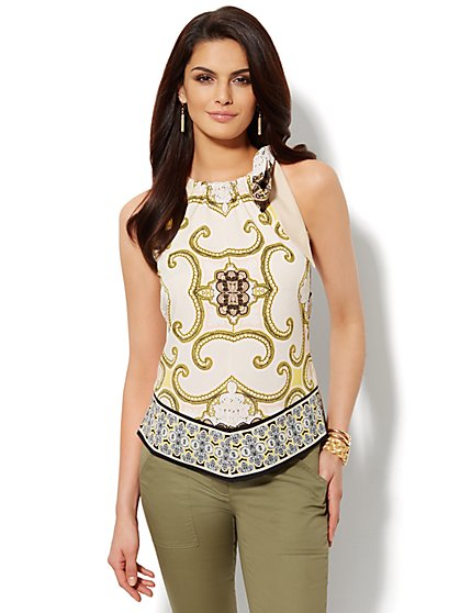 Angled-Hem Halter Blouse - Scroll Print - New York & Company