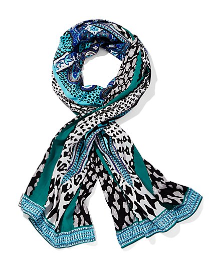 Animal & Paisley Print Oblong Scarf - New York & Company