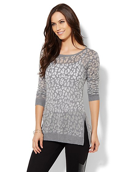 Animal-Print Burnout Sweater  - New York & Company