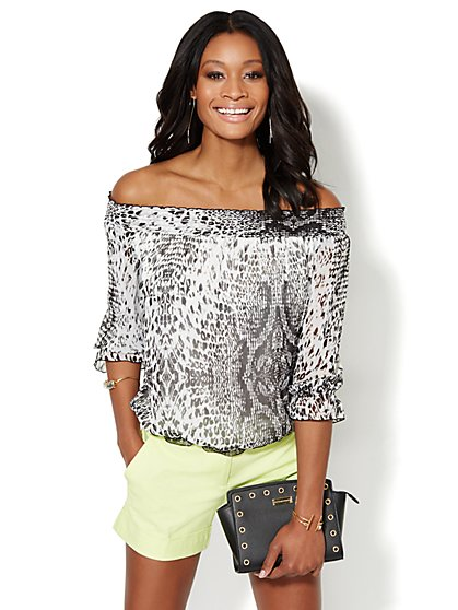 Animal-Print Peasant Blouse  - New York & Company