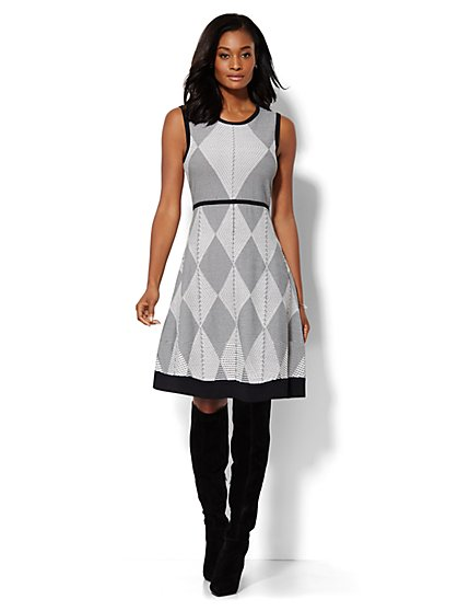 Argyle Flare Sweater Dress  - New York & Company