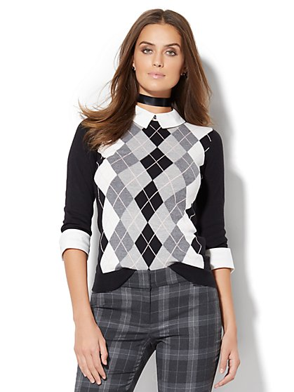 Argyle Twofer Sweater - Petite  - New York & Company