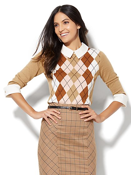 Argyle Twofer Sweater - Petite  - New York & Company