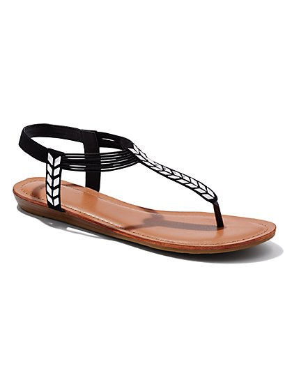 Arrow T-Strap Flat Sandal  - New York & Company