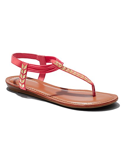 Arrow T-Strap Flat Sandal  - New York & Company