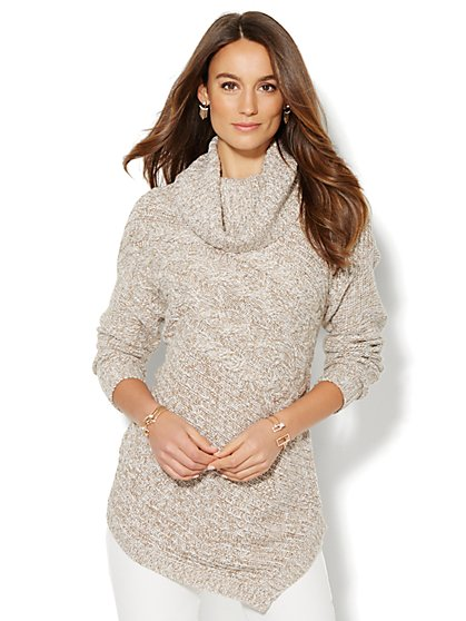 Asymmetrical Cowl-Neck Sweater - Marled - New York & Company