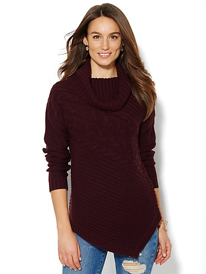 Asymmetrical Cowl-Neck Sweater - New York & Company